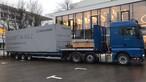 Anlieferung des <b>MAGNUM</b>BOARD® OSB-Pavillons am Vortag der Architektenveranstaltung
