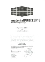 """materialPREIS2018: the certificate for SWISS KRONO MAGNUMBOARD® OSB in the """"Ecology"""" category"""
