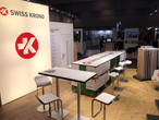 Quiet before the storm: everything on the SWISS KRONO stand has been meticulously prepared for the onslaught