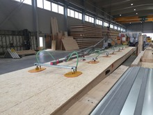 Prefabrication of floor and ceiling elements using SWISS KRONO Longboards